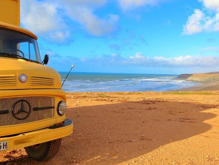 Guelmim, Wohnmobil, Marokko, Aussicht, Strand, Meer, Küste, Stellplatz