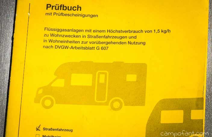 Prüfbuch, Gasprüfung, Wohnmobil
