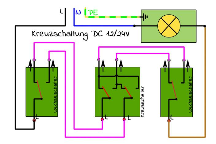 Schaltplan Kreuzschaltung 220V