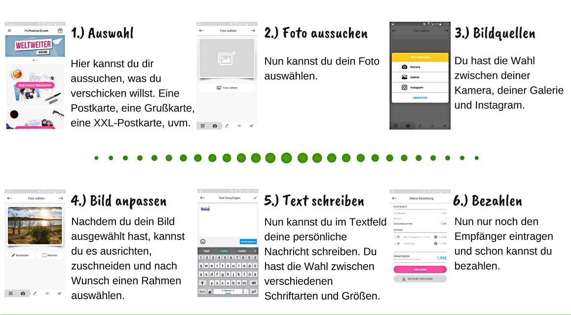 MyPostcard App, Postkarte online erstellen und verschicken - Campofant