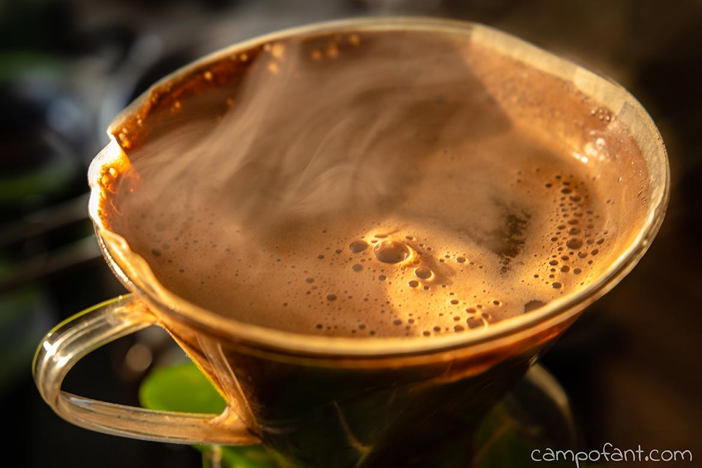 Camping Kaffee kochen, Kaffeemaschine