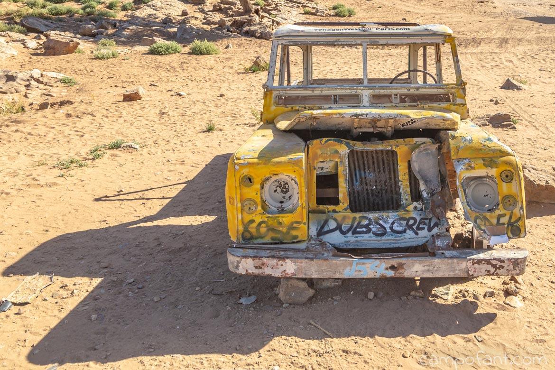 Marokko Wüste Wrack Landrover