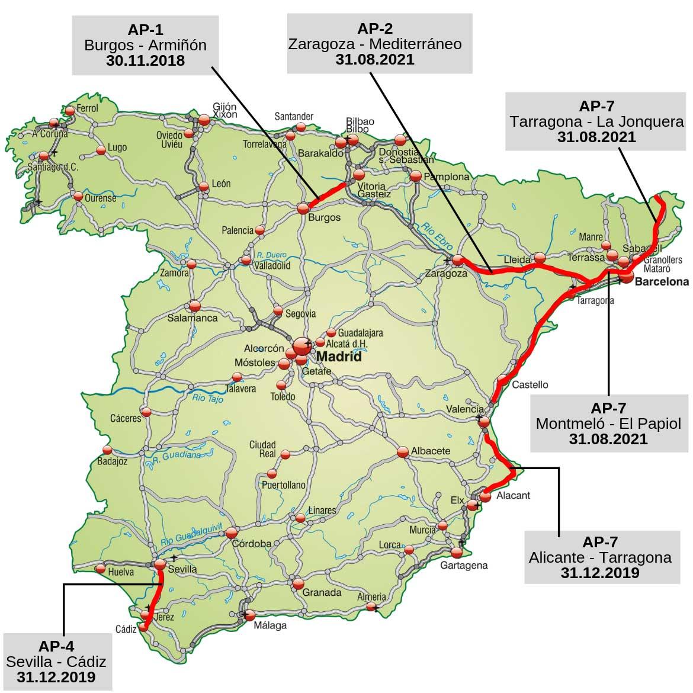 Autobahn mautfrei Spanien