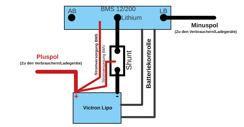 Schaltplan Victron Lipo mit BMS 12/200