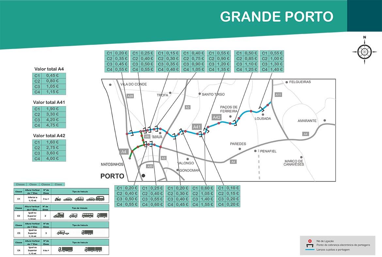 Maut Großraum Porto Karte