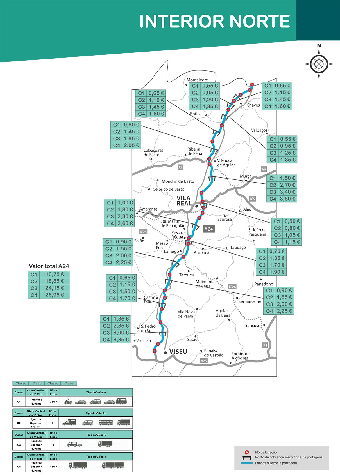 Maut Norte A24 Karte