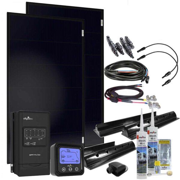 200W Solarset MobileBlack mit MPPT Solarladeregler Offgridtec